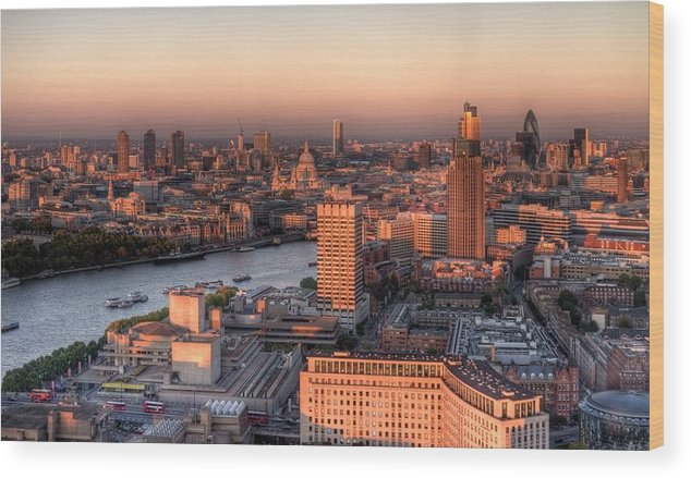 Cityscape Wood Print featuring the photograph London Cityscape At Sunset by Michael Lee