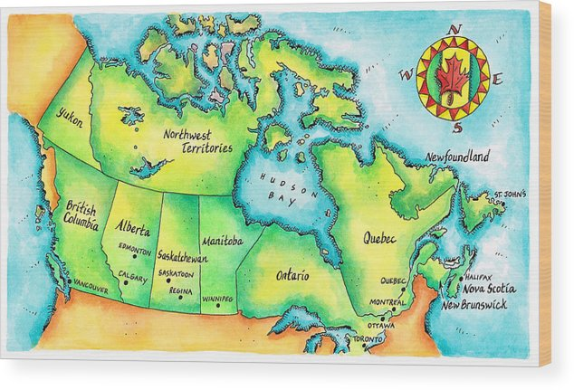 Watercolor Painting Wood Print featuring the digital art Map Of Canada by Jennifer Thermes