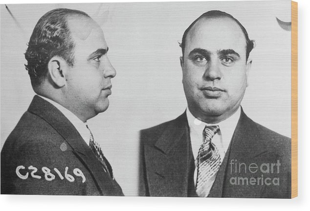 Gangster Wood Print featuring the photograph Mugshot Of Gangster Al Capone by Bettmann