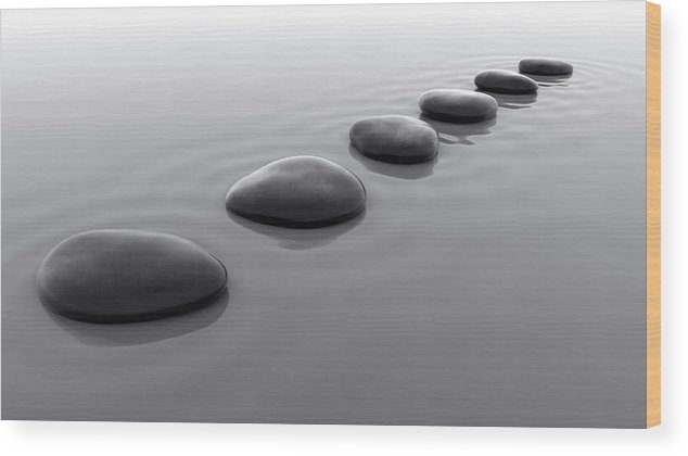 In A Row Wood Print featuring the photograph Pebbles In Water Iv by Fpm