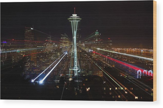 Laser Wood Print featuring the photograph Seattle Skyline Laser Show by Jonkman Photography