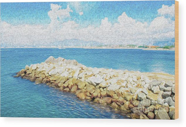 Manzanillo Wood Print featuring the digital art The Jetty in Manzanillo, Mexico by Kenneth Montgomery