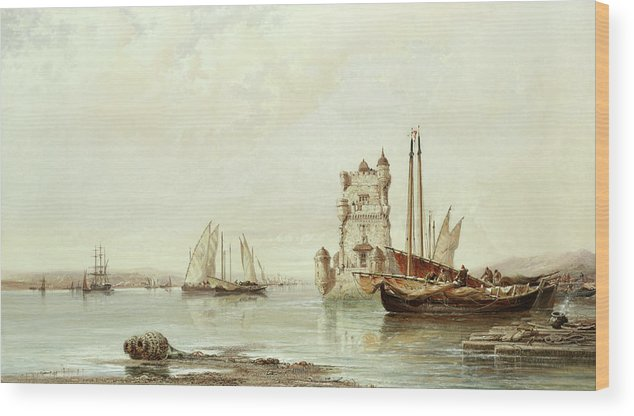 The Mouth Of The Tagus Wood Print featuring the painting The Mouth Of The Tagus, Lisbon by Arthur Joseph Meadows