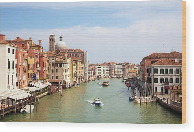 Motorboat Wood Print featuring the photograph Venice Grand Canal Scene, Veneto Italy by Romaoslo