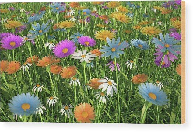 Grass Wood Print featuring the digital art Wildflower Meadow, Artwork by Leonello Calvetti
