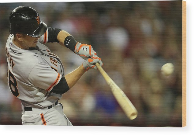 National League Baseball Wood Print featuring the photograph Buster Posey by Christian Petersen