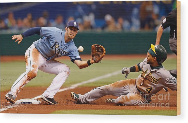 American League Baseball Wood Print featuring the photograph Evan Longoria and Coco Crisp by J. Meric