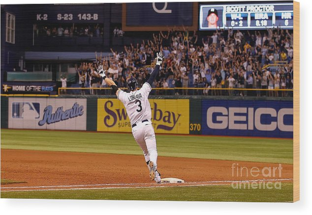 American League Baseball Wood Print featuring the photograph Evan Longoria by J. Meric