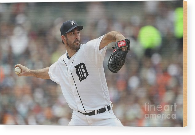 Second Inning Wood Print featuring the photograph Justin Verlander by Leon Halip