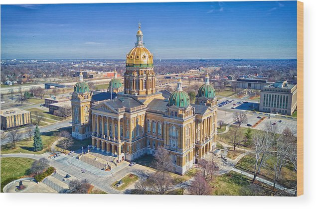 Built Structure Wood Print featuring the photograph Aerial Of Iowa Capital March 4 2017 by Monte Goodyk