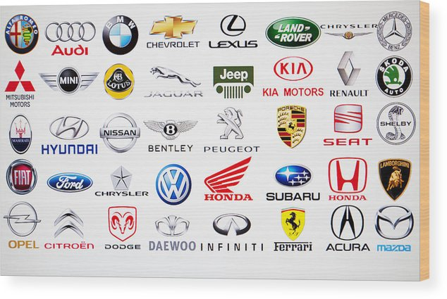 Kia Wood Print featuring the photograph Collection Of Car Brand Logos by Aleksle