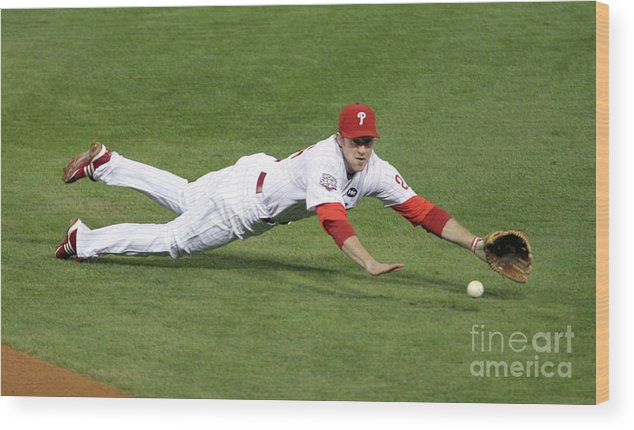 People Wood Print featuring the photograph Derek Jeter and Chase Utley by Brad Mangin