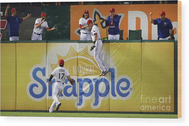 Ninth Inning Wood Print featuring the photograph Drew Stubbs and Shin-soo Choo by Tom Pennington