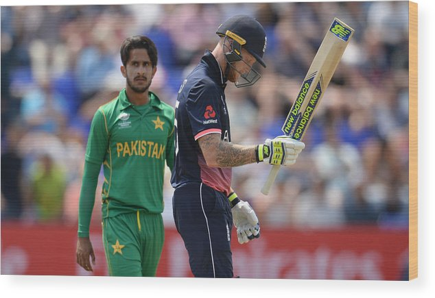 Three Quarter Length Wood Print featuring the photograph England v Pakistan - ICC Champions Trophy by Philip Brown