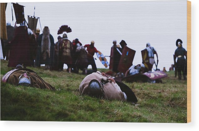 Event Wood Print featuring the photograph Enthusiasts Re-enact Roman Times At Hadrian's Wall by Ian Forsyth