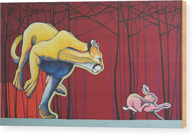Wildlife Wood Print featuring the painting Get To The Trees by Joe Triano