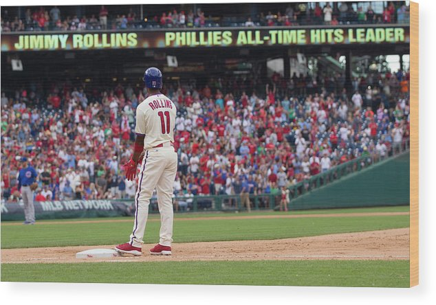 Citizens Bank Park Wood Print featuring the photograph Jimmy Rollins by Mitchell Leff