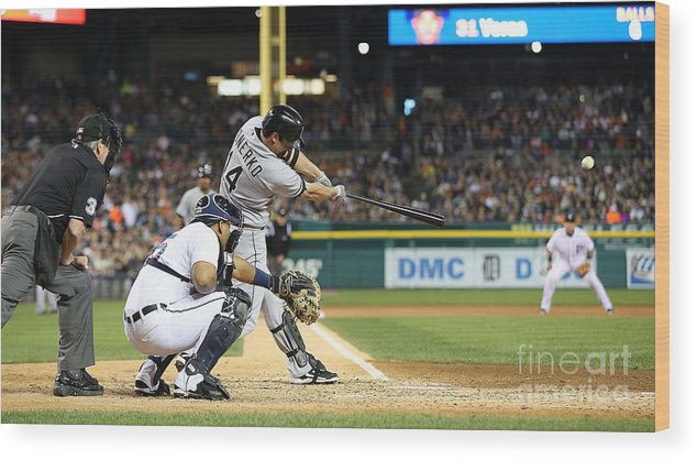 American League Baseball Wood Print featuring the photograph Marcus Semien and Paul Konerko by Leon Halip