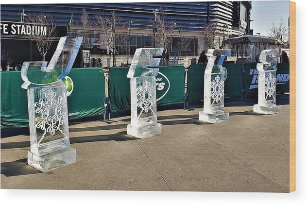 New York Jets Wood Print featuring the photograph New York Jets On Ice by Rob Hans