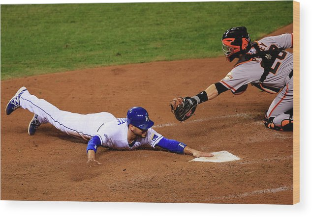 People Wood Print featuring the photograph Omar Infante and Buster Posey by Jamie Squire
