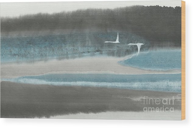 Two Birds Flying Over Forest And River. This Is A Contemporary Chinese Brush Painting On Rice Paper. Wood Print featuring the painting Passage by Mui-Joo Wee