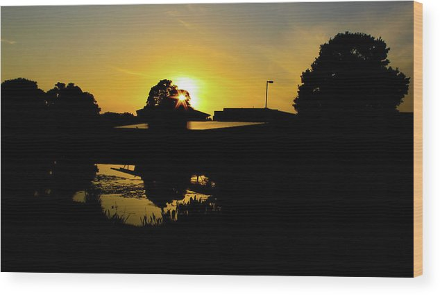 Landscape Wood Print featuring the digital art Sunset over Building by Daniel Cornell