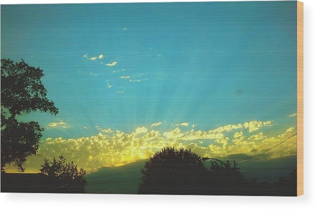 Treetop Wood Print featuring the photograph Sunset With God Rays by Aaron Carmichael / EyeEm