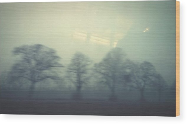 Scenics Wood Print featuring the photograph Trees On Field In Foggy Weather Seen From Vehicle Glass Window by Roman Pretot / EyeEm