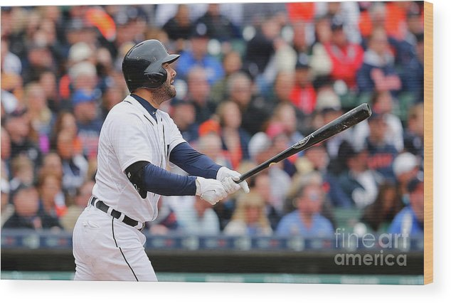 Second Inning Wood Print featuring the photograph Yoenis Cespedes and Alex Avila by Leon Halip