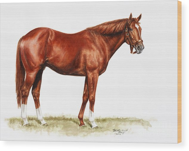 Secretariat Wood Print featuring the painting Secretariat Study by Thomas Allen Pauly