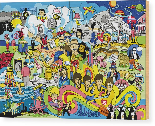 Beatles Wood Print featuring the digital art 70 illustrated Beatles' song titles by Ron Magnes