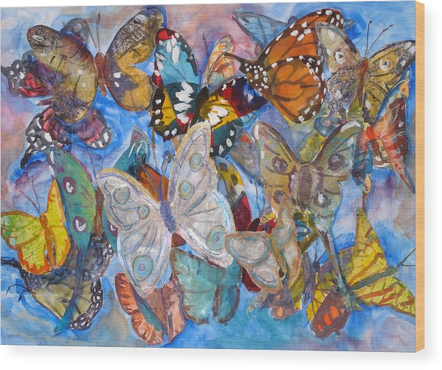 Butterfly Wood Print featuring the mixed media Butterfly Collage by Joyce Kanyuk