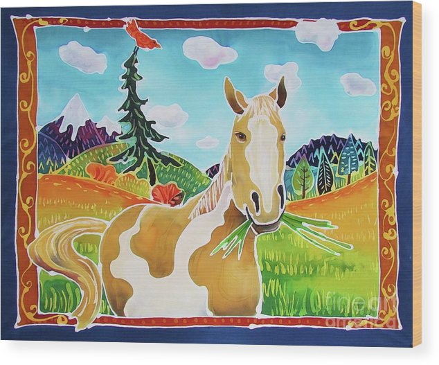 Horse Wood Print featuring the painting Chloe the Wild Mustang by Harriet Peck Taylor