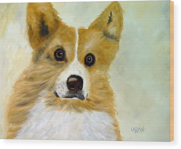 Wood Print featuring the painting Corgi by Dick Larsen