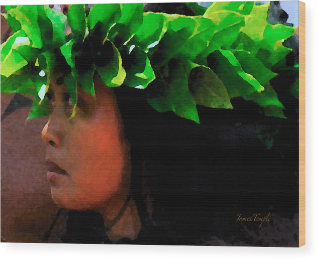 Hula Wood Print featuring the digital art Molokai Wahine Dancer by James Temple