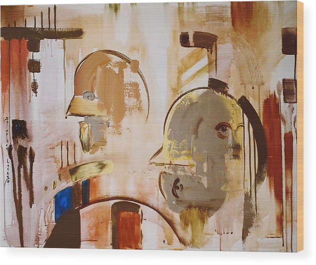 Abstract Wood Print featuring the painting What is Identity by Stephen Lucas