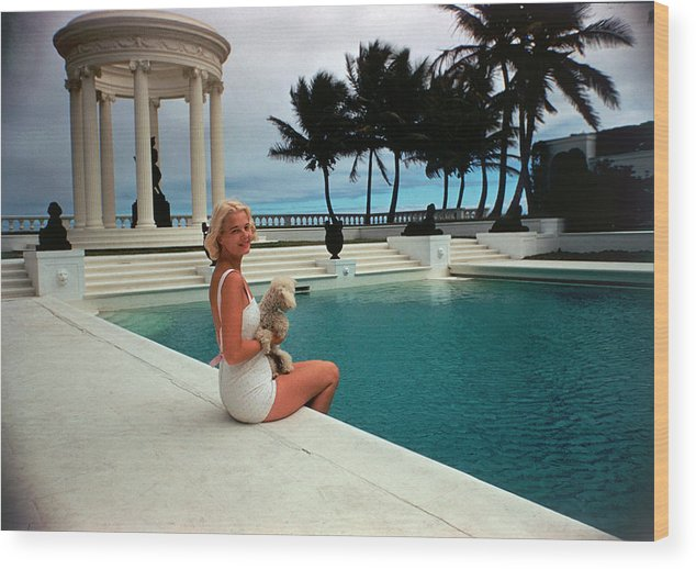 Pets Wood Print featuring the photograph Cz By The Pool by Slim Aarons