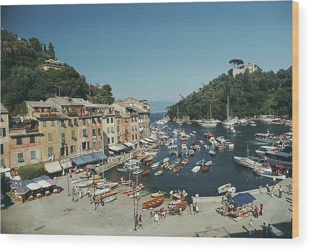 Scenics Wood Print featuring the photograph Portofino Harbour by Slim Aarons