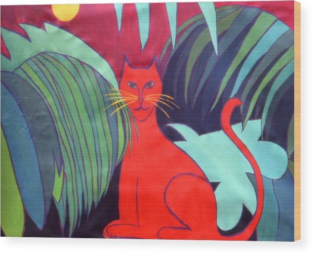 Cat Wood Print featuring the painting Red Cat by Ingrid Torjesen
