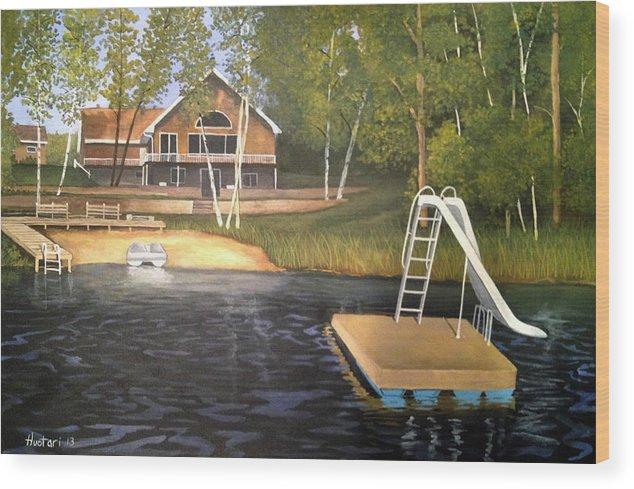 Rick Huotari Wood Print featuring the painting Matt's Cabin by Rick Huotari
