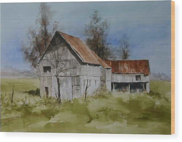 Landscape Wood Print featuring the painting Red Tin Roof by Don Cull