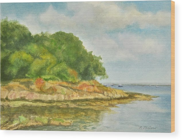 Landscape Wood Print featuring the painting Shoreline Manor Park by Phyllis Tarlow