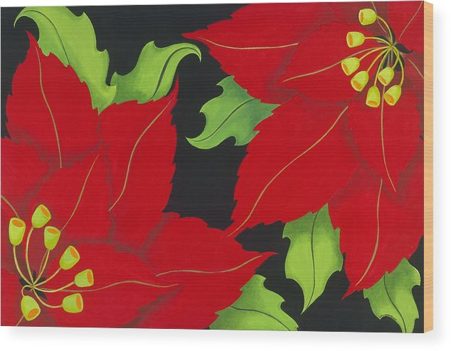 Acrylic Wood Print featuring the painting Double Red Poinsettias by Carol Sabo