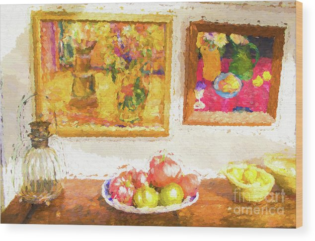 Fruit Wood Print featuring the photograph Fruit and paintings by Sheila Smart Fine Art Photography