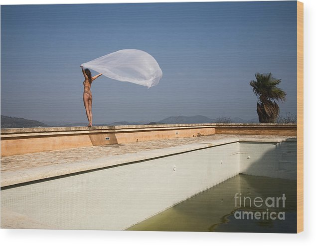 Sensual Wood Print featuring the photograph I will fly to you by Olivier De Rycke