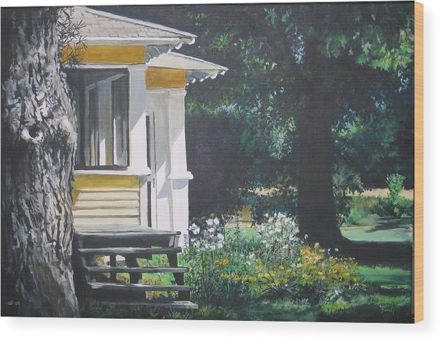 Farmhouse Wood Print featuring the painting Porch By The Road by William Brody