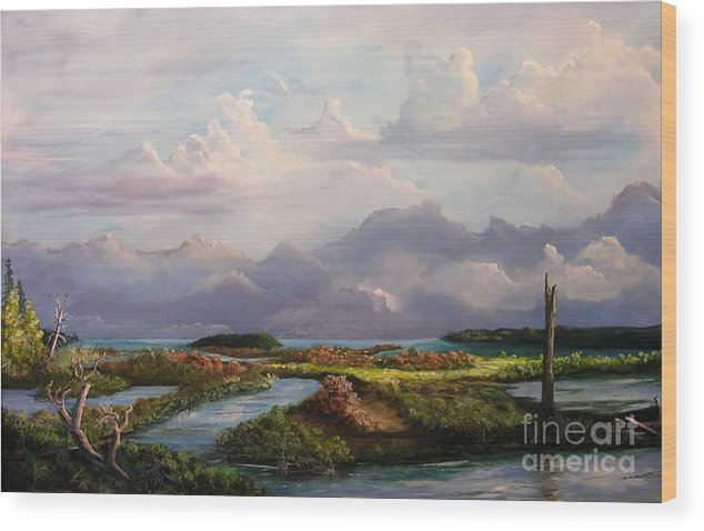 Sound Wood Print featuring the painting River's End by John Wise
