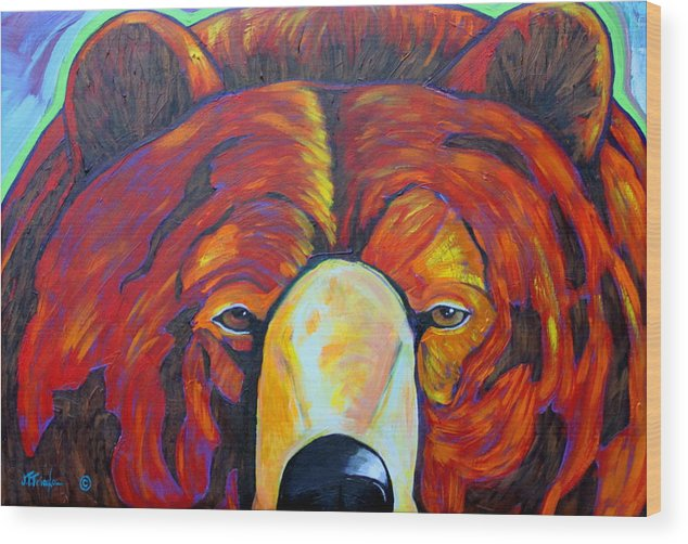 Self Portrait Wood Print featuring the painting Self Portrait - Grizzly by Joe Triano