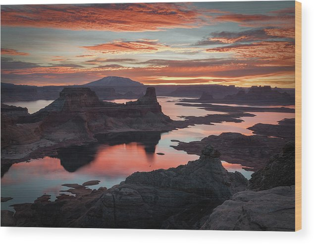 Lake Powell Wood Print featuring the photograph Sunrise at Lake Powell by James Udall