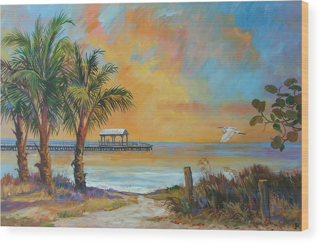 Beach Wood Print featuring the painting Sunset Flight by Dianna Willman